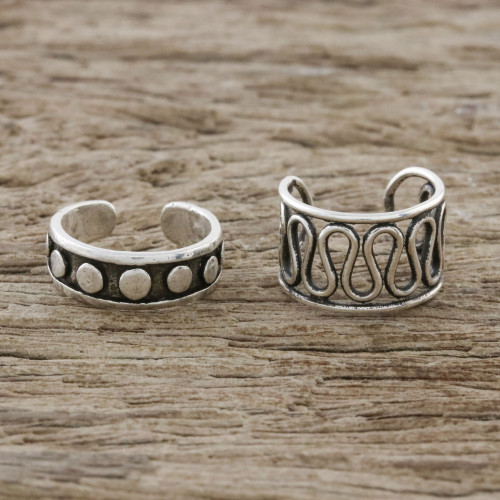 Circle and Wave Motif Sterling Silver Ear Cuffs 'Simple Style'