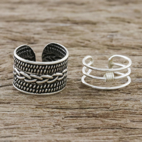 Braid Motif Sterling Silver Ear Cuffs from Thailand 'Ties That Bind'