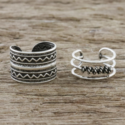Zigzag and Rope Motif Sterling Silver Ear Cuffs 'Zigzag Charm'