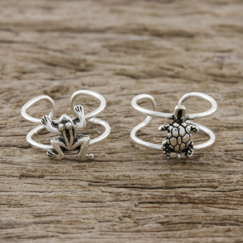 Frog and Turtle Sterling Silver Ear Cuffs from Thailand 'Frog and Turtle'