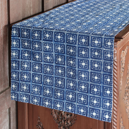 Hand-Dyed Navy and White Cotton Batik Square Table Runner 'Hill Tribe Focus'