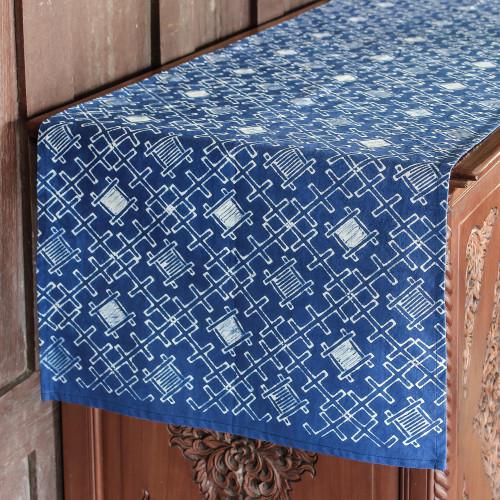 Hmong Dark Blue and White Cotton Batik Table Runner 'Batik Oblique'