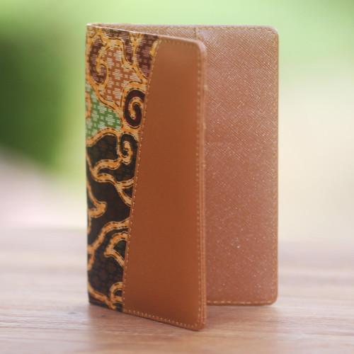 Handmade Cotton Batik and Faux Leather Passport Case 'Cloud Traditions'