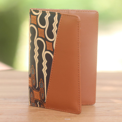 Light Brown Faux Leather Passport Holder with Cotton Print 'Sharp Traveler'
