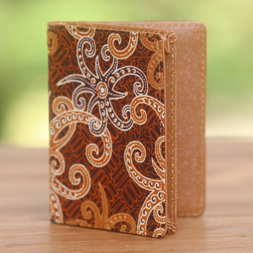 Brown and Gold Faux Leather Batik Floral Passport Case 'Brown Star'