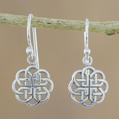 Circular Sterling Silver Celtic Knot Earrings from Thailand 'Knotted Flowers'