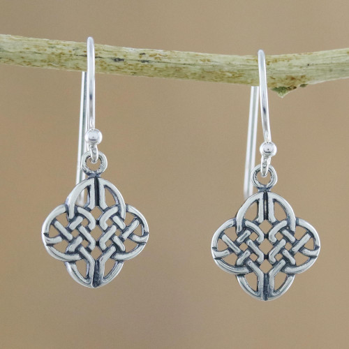 Celtic Knot Sterling Silver Dangle Earrings from Thailand 'Celtic Style'
