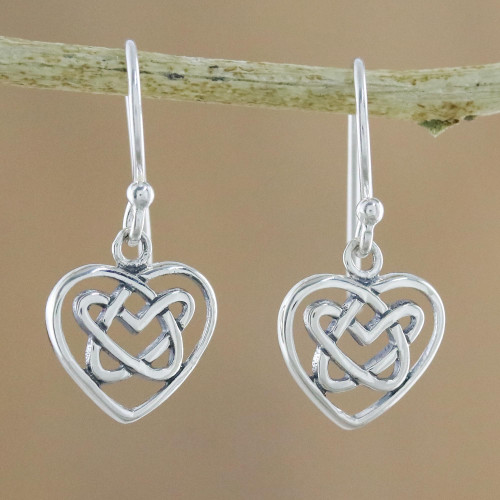 Sterling Silver Celtic Knot Heart Earrings from Thailand 'Knotted Hearts'