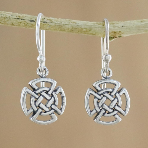 Sterling Silver Celtic Knot Cross Earrings from Thailand 'Woven Crosses'
