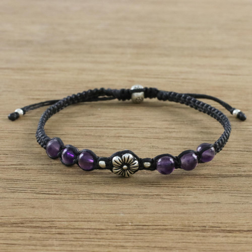 Floral Amethyst and Karen Silver Beaded Bracelet 'Calm and Tranquil'
