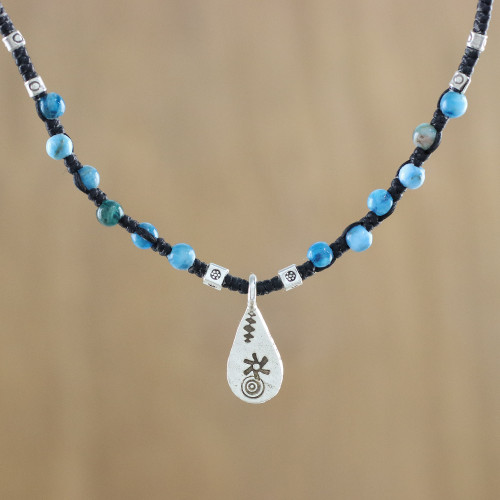 Apatite Beaded Pendant Necklace with Hill Tribe Silver 'Apatite Destiny'