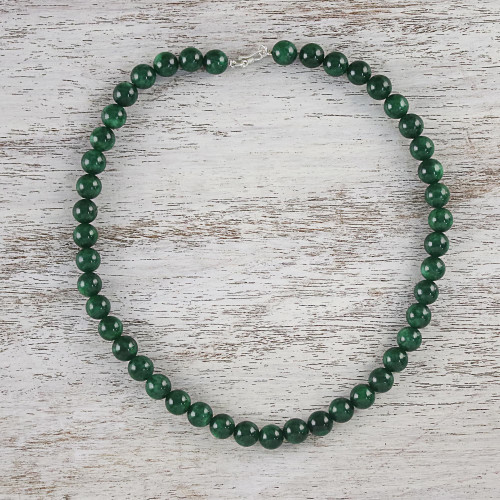 Green Quartz Beaded Necklace from Thailand 'Jungle Strand'