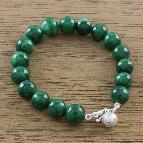 Green Quartz Beaded Bracelet with Bell from Thailand 'Voice of the Jungle'