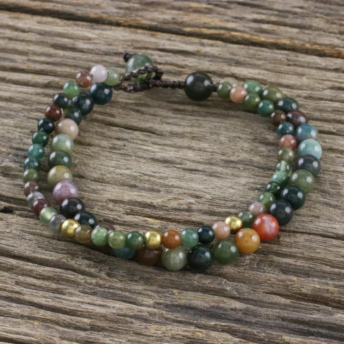 Adjustable Agate Beaded Bracelet from Thailand 'Double Beauty'