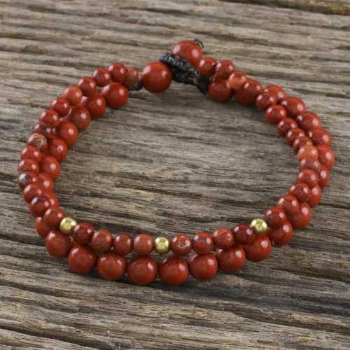 Adjustable Jasper Beaded Bracelet from Thailand 'Double Beauty'