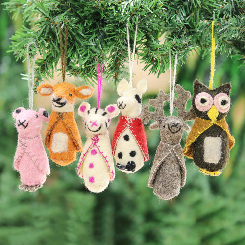 Animal-Themed Wool Ornaments from India Set of 6 'Winter Animals'