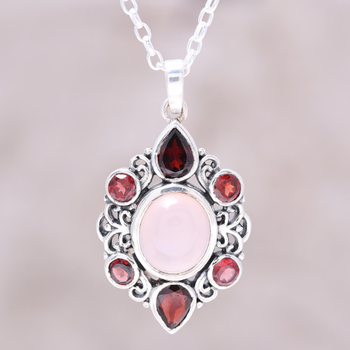 Garnet and Rose Quartz Pendant Necklace from India 'Glory of Red'