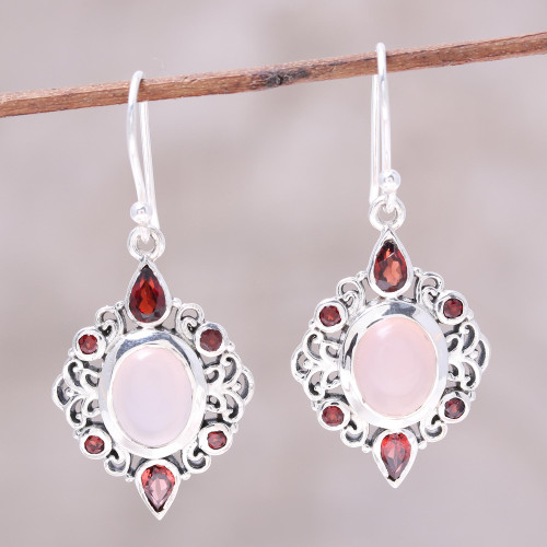 Garnet and Rose Quartz Dangle Earrings from India 'Glory of Red'