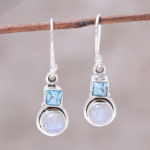 Blue Topaz and Rainbow Moonstone Dangle Earrings from India 'Sky Glimmer'