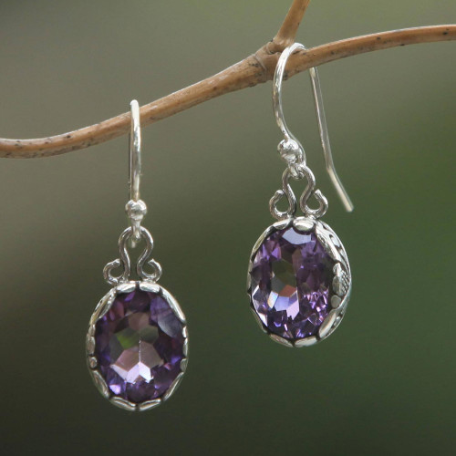 Sterling Silver Faceted Oval Amethyst Dangle Earrings 'Lavender Pools'