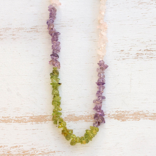 Long Multi-Gemstone Beaded Necklace Crafted in Brazil 'Colorful Mists'