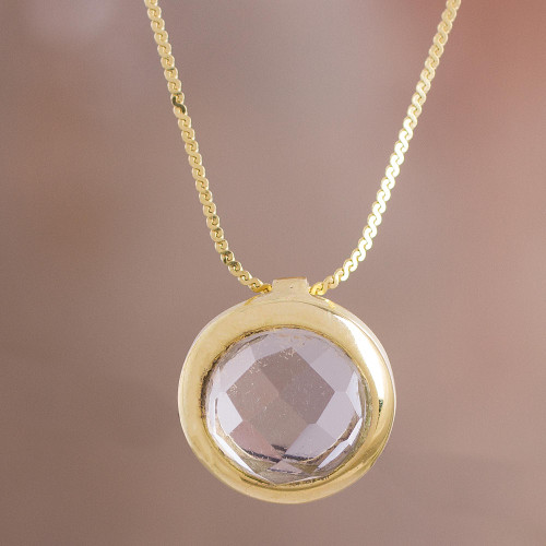 18k Gold Plated Quartz Pendant Necklace from Peru 'Golden Circle'