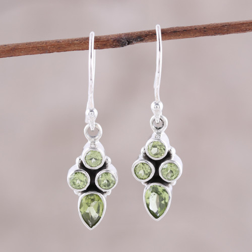 Green Peridot Dangle Earrings Crafted in India 'Sparkling Forest'