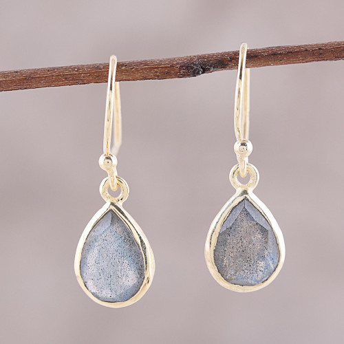 Gold Plated 4-Carat Labradorite Dangle Earrings from India 'Fantastic Drops'