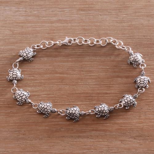 Handcrafted Sterling Silver Turtle Link Bracelet from Bali 'Turtle Promenade'