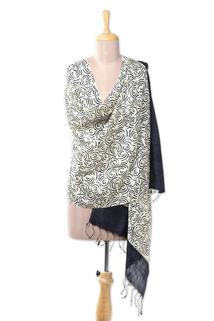 Handwoven Block-Printed Silk Shawl in Black and Ivory 'Garden of Black Roses'