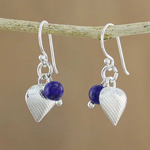Lapis Lazuli Heart Dangle Earrings from Thailand 'Love For Midnight'