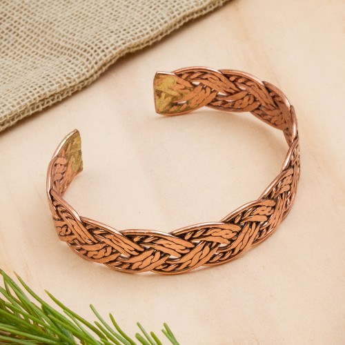 Handcrafted Braided Copper Cuff Bracelet from Mexico 'Brilliant Weave'