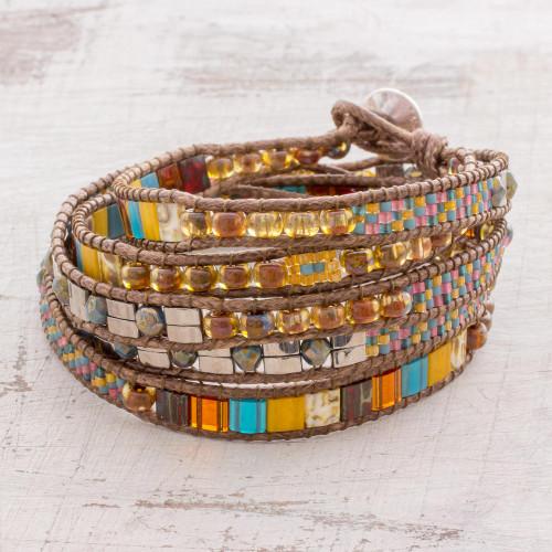 Colorful Glass Beaded Wrap Bracelet from Guatemala 'Harmony Shore'