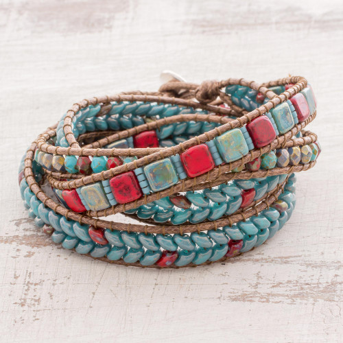 Red and Blue Glass Beaded Wrap Bracelet from Guatemala 'Bays of Guatemala'