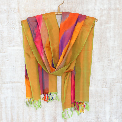 Handcrafted Ikat Tie-Dyed Silk Scarf from India 'Ikat Glamour'