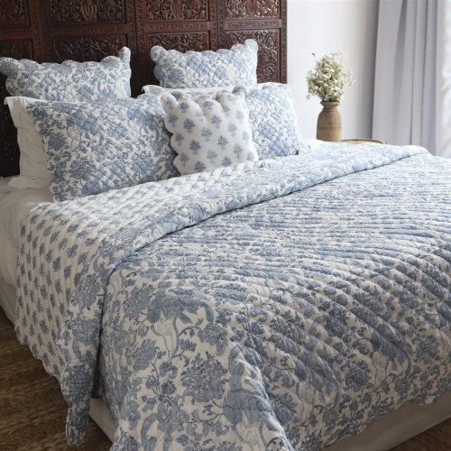 India Hand-Stitched Cotton Block Print Quilted Cushion Cover 'Bombay Toile'