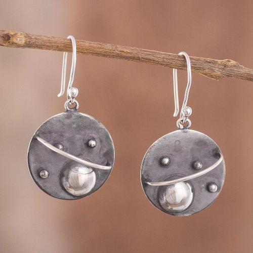 Modern Sterling Silver Dangle Earrings from Peru 'Modern Universe'