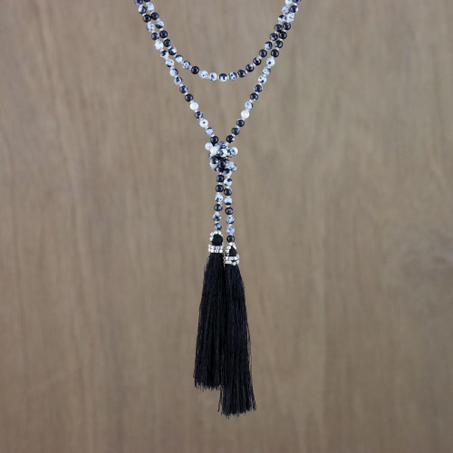 Agate Beaded Lariat Necklace in Black from Thailand 'Festive Holiday in Black'
