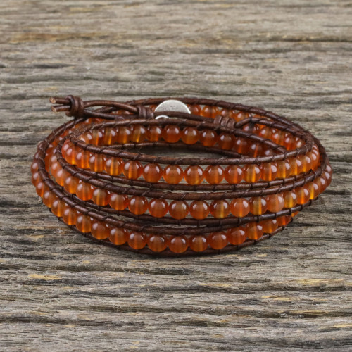 Carnelian and Leather Beaded Wrap Bracelet from Thailand 'Spring Fire'