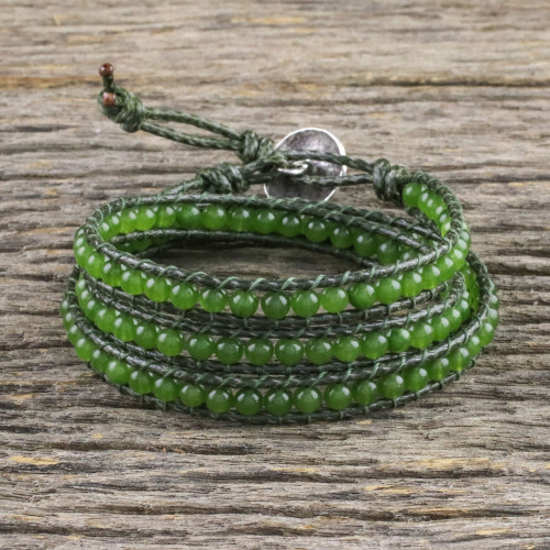 Green Quartz and Leather Beaded Wrap Bracelet from Thailand 'Spring Meadow'
