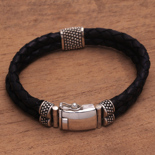 Silver and Braided Brown Leather Men's Wristband Bracelet 'Midnight Luxe'