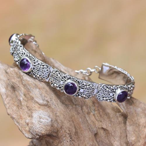 Amethyst and Sterling Silver Link Bracelet from Bali 'Sukawati Wangi'