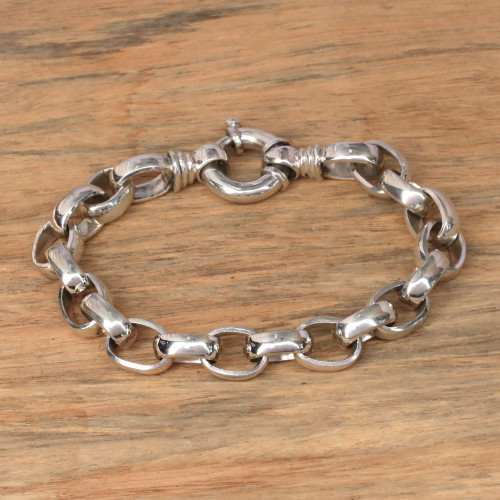 Men's Sterling Silver Chain Bracelet from Bali 'Cager Links'