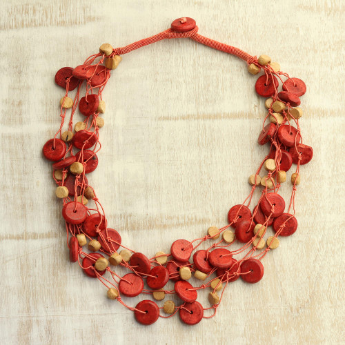 Orange Haldu Wood Beaded Multi-Strand Torsade Necklace 'Magical Sunset'