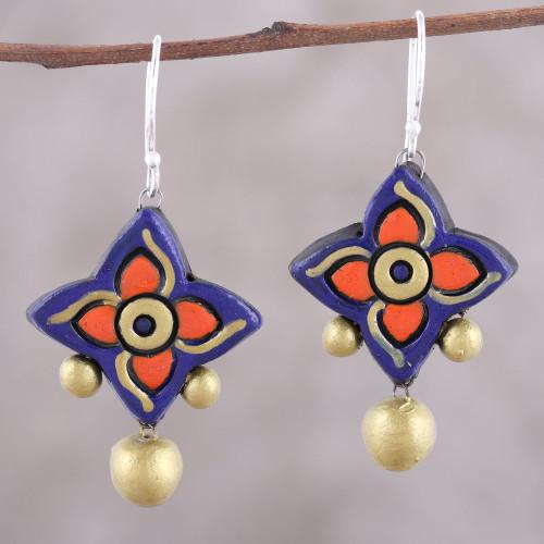 Handcrafted Purple and Gold Ceramic Pinwheel Dangle Earrings 'Bold Pinwheels'