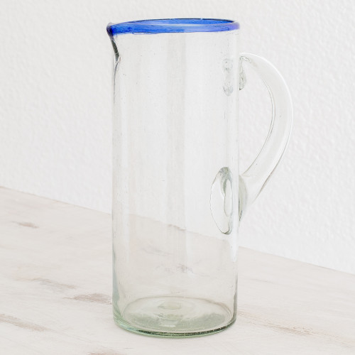 Handblown Recycled Glass Cylindrical Pitcher with Blue Rim 'Clear Waters'