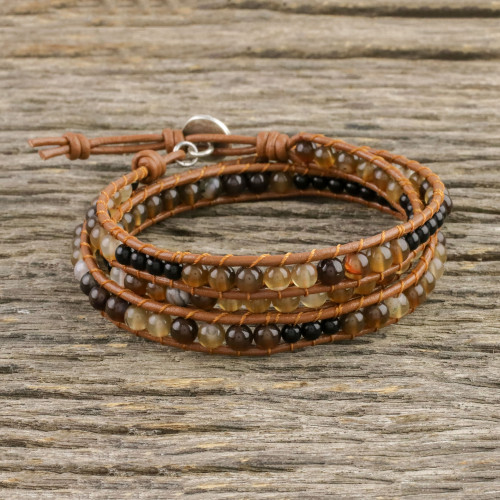 Unisex Agate and Onyx Beaded Leather Cord Wrap Bracelet 'Dusky Dunes'