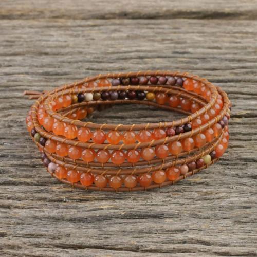 Carnelian and Jasper Beaded Leather Cord Wrap Bracelet 'Terra Firma Swirl'