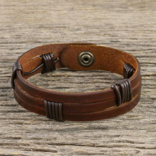 Men's Dark Brown Leather Wristband Bracelet with Brass Snap 'Commander in Dark Brown'