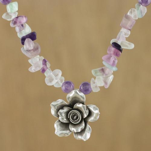 Amethyst Fluorite Sterling Silver Flower Pendant Necklace 'Violet Field'